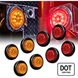 """ONLINE LED STORE 8 PC 2"""" Round LED Clearance Light Side Marker - Two in One Reflector and Clearance Light [Polycarbonate Reflector] [10 LEDs] [Rubber Grommet] [IP 67] for Trailers - 4 Red and 4 Amber"""