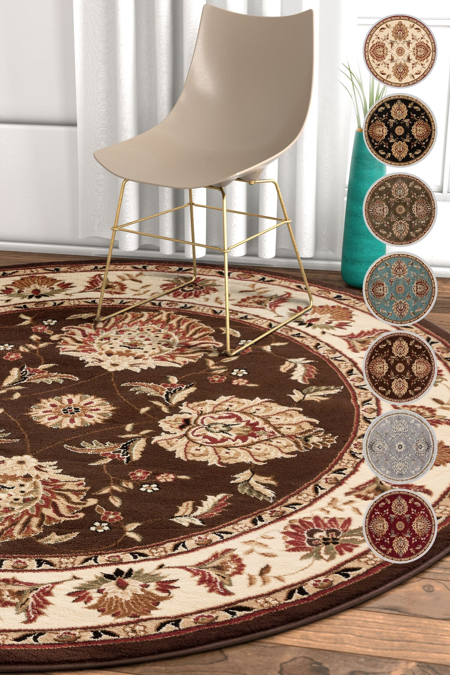 Well Woven Sultan Sarouk Brown Oriental 5 Round (5'3'' Round) Area Rug Persian Floral Formal Traditional Area Rug Easy Clean Stain Fade Resistant Shed Free Modern Classic Thick Soft Plush Rug