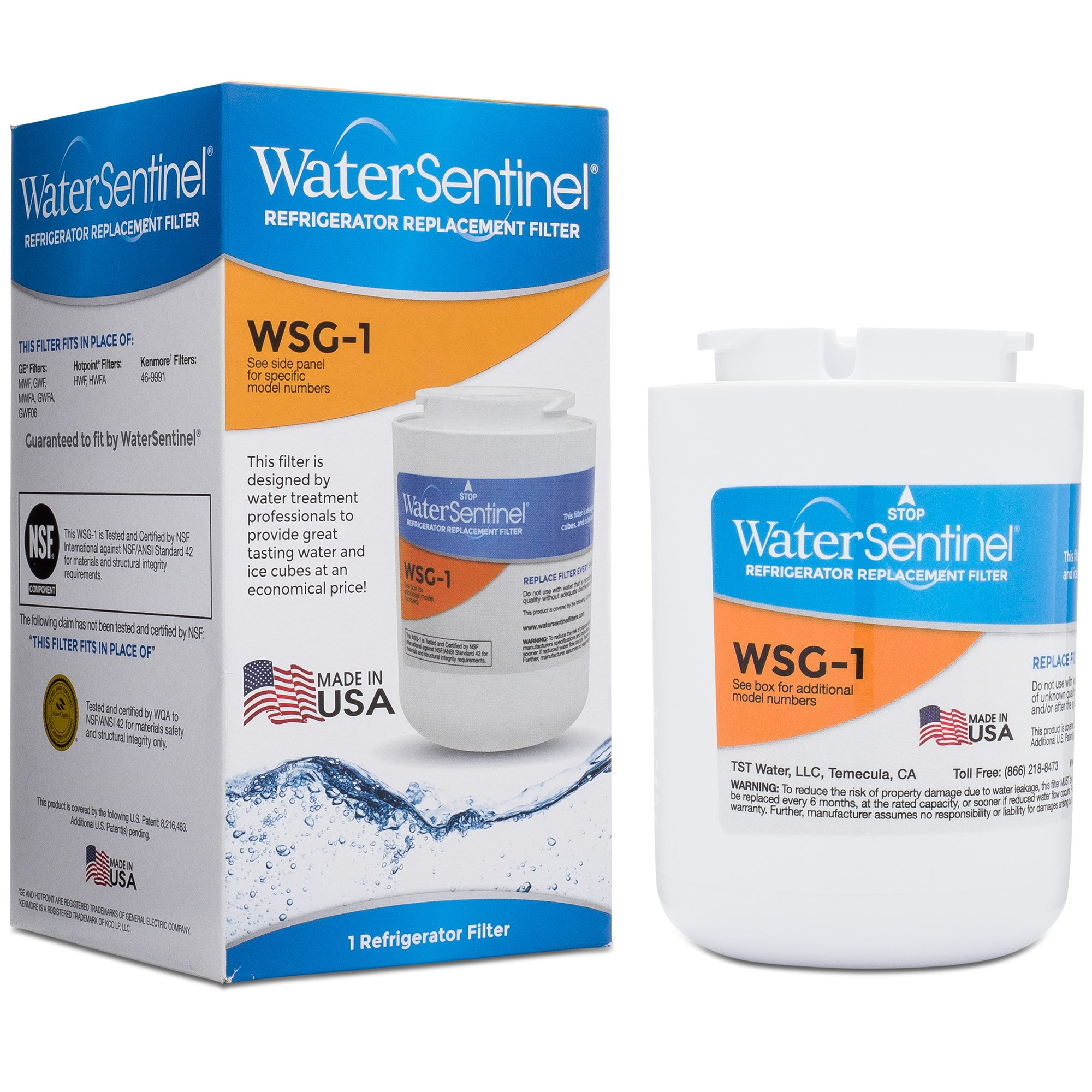WaterSentinel WSG-1 Made in USA Refrigerator Replacement Filter: Fits GE MWF Filters by WaterSentinel