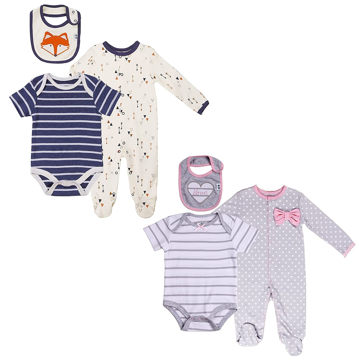 Asher and Olivia Baby Twin Boy-Girl Cozy Layette 6 Pcs Set A1723-A1739