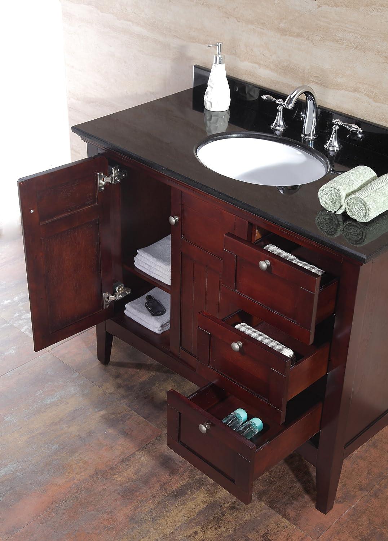 ove decors gavin42 bathroom 42inch vanity ensemble with black granite countertop and ceramic basin tobacco amazoncom