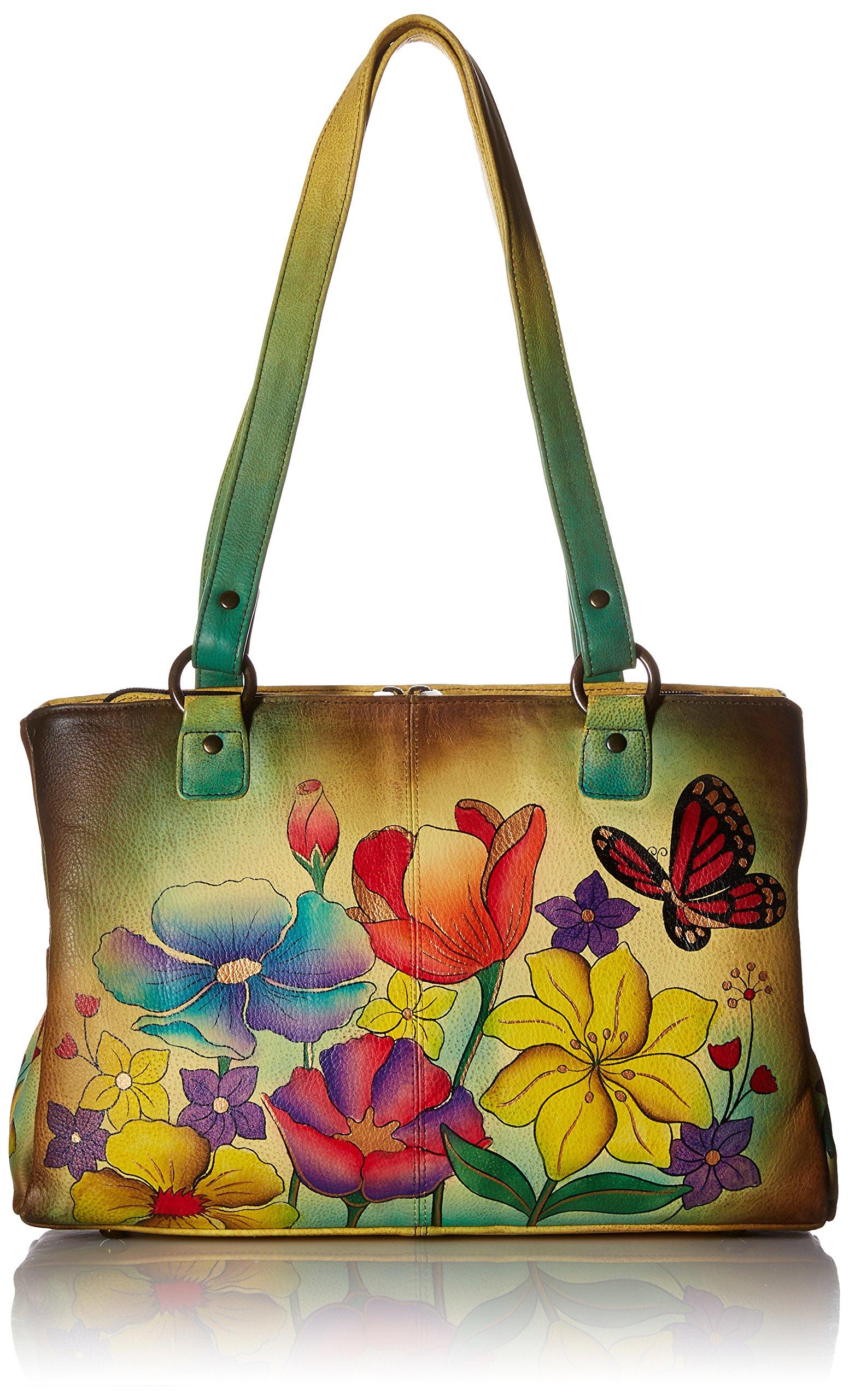 Anuschka Handpainted Leather Multi Pocket Organizer, Floral Garden