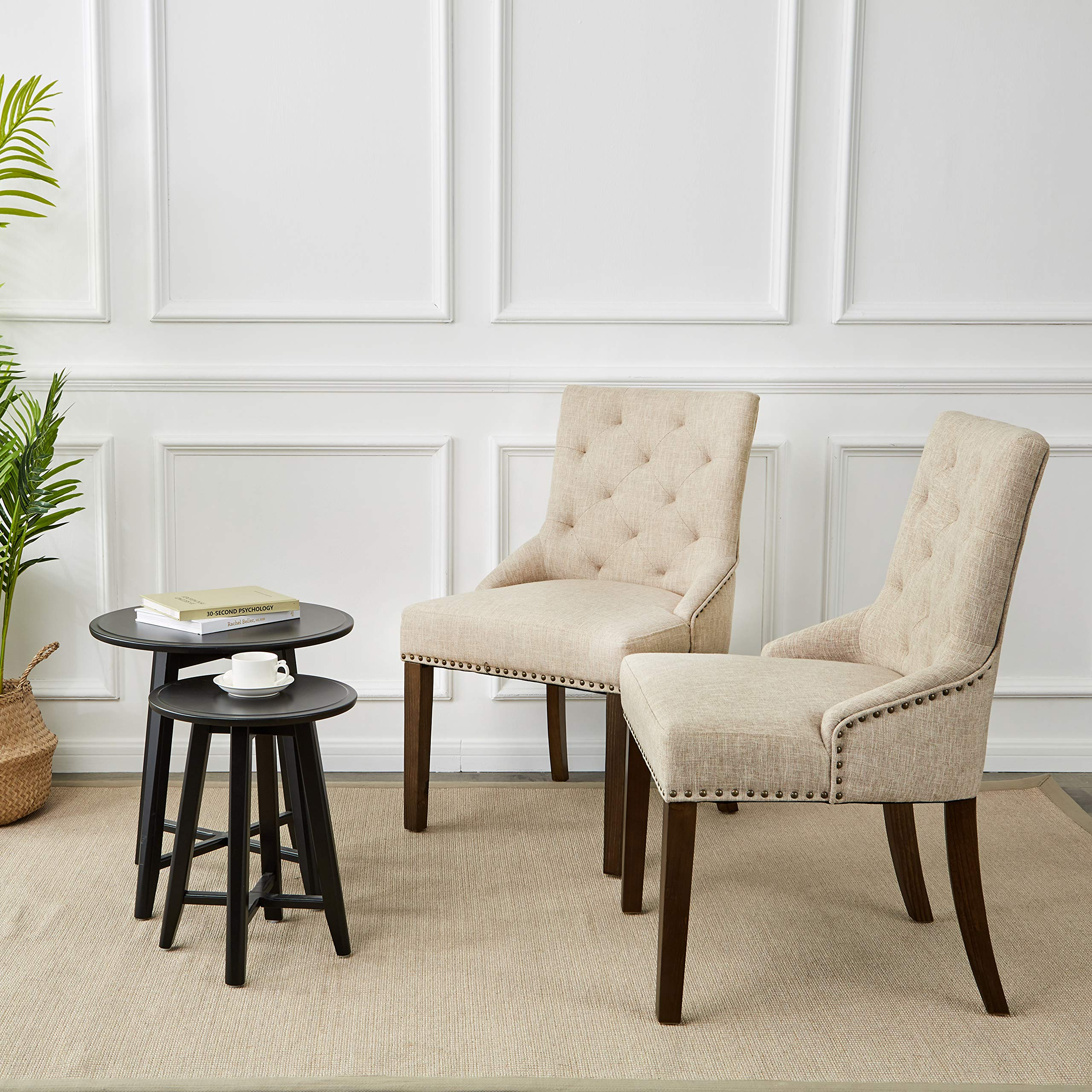 Red Hook Martil Upholstered Dining Chair with Nailhead Trim, Biscuit Beige, Set of 2 by Red Hook (Image #2)