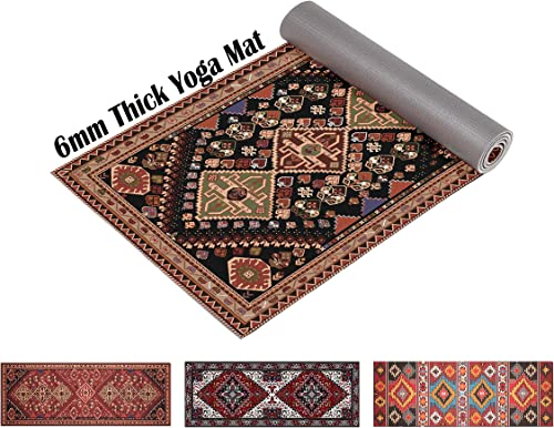 Ananda Premium Print Yoga Mat 6mm Extra Thick 72 Long Non Slip Workout Fitness Mat with Carrying Strap for Yoga, Pilates Floor Exercises