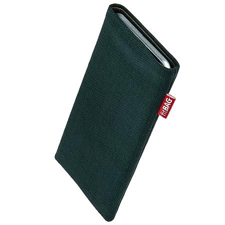 fitBAG Rave Smaragd Handytasche Tasche aus Textil-Stoff mit Microfaserinnenfutter für Sony Xperia Z5 Compact | Hülle mit Rein