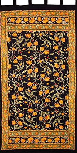 India Arts French Floral Tab Top Curtain Drape Panel Cotton 44 x 88 Amber Black
