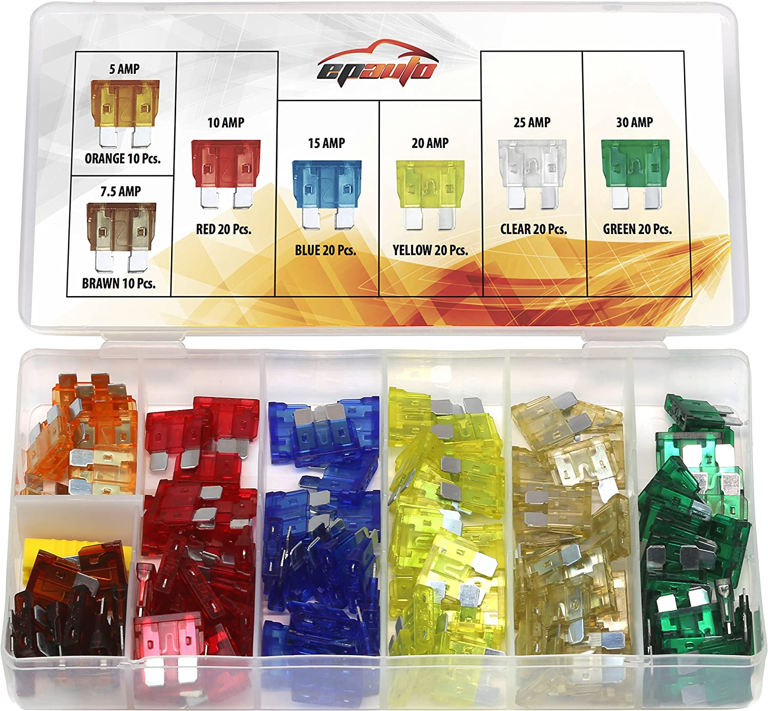 120Pc FAST BLOW GLASS FUSE SET SMALL-LARGE 5//10//15//20//25//30 amp Electrical//Clear
