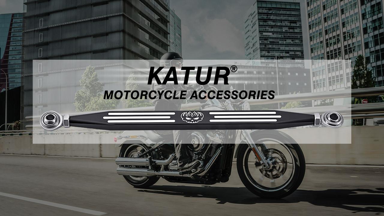 NATGIC Motorcycle Billet Aluminum Stripe Skull Deep Cut CNC Shift Linkage for Harley Davidson Softail Road King Electra Glide 1980-2017 Black