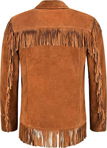 Mens Western FringesTan Leather Jacket Tan Classic Fringe Real Suede Jacket 4198
