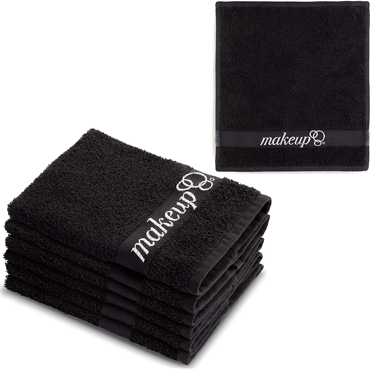 "FABBPRO Black Makeup Remover Cloth Towels – Set of 6 Facial Makeup Eraser Towels 13"" x 13"" – Made in Turkey – Ultra Soft Cotton – Chic Black Color – Beautiful Design – Gentle & Safe on Skin"