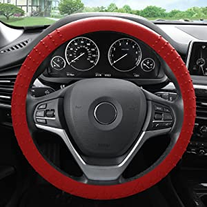 FH Group FH3002BURGUNDY Burgundy Steering Wheel Cover (Silicone W. Nibs & Pattern Massaging grip Wheel Cover Color -Fit Most Car Truck Suv or Van)