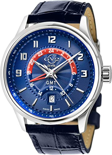 GV2 Men's Stainless Steel Quartz Watch with Leather Strap, Blue, 20 (Model: 42302)