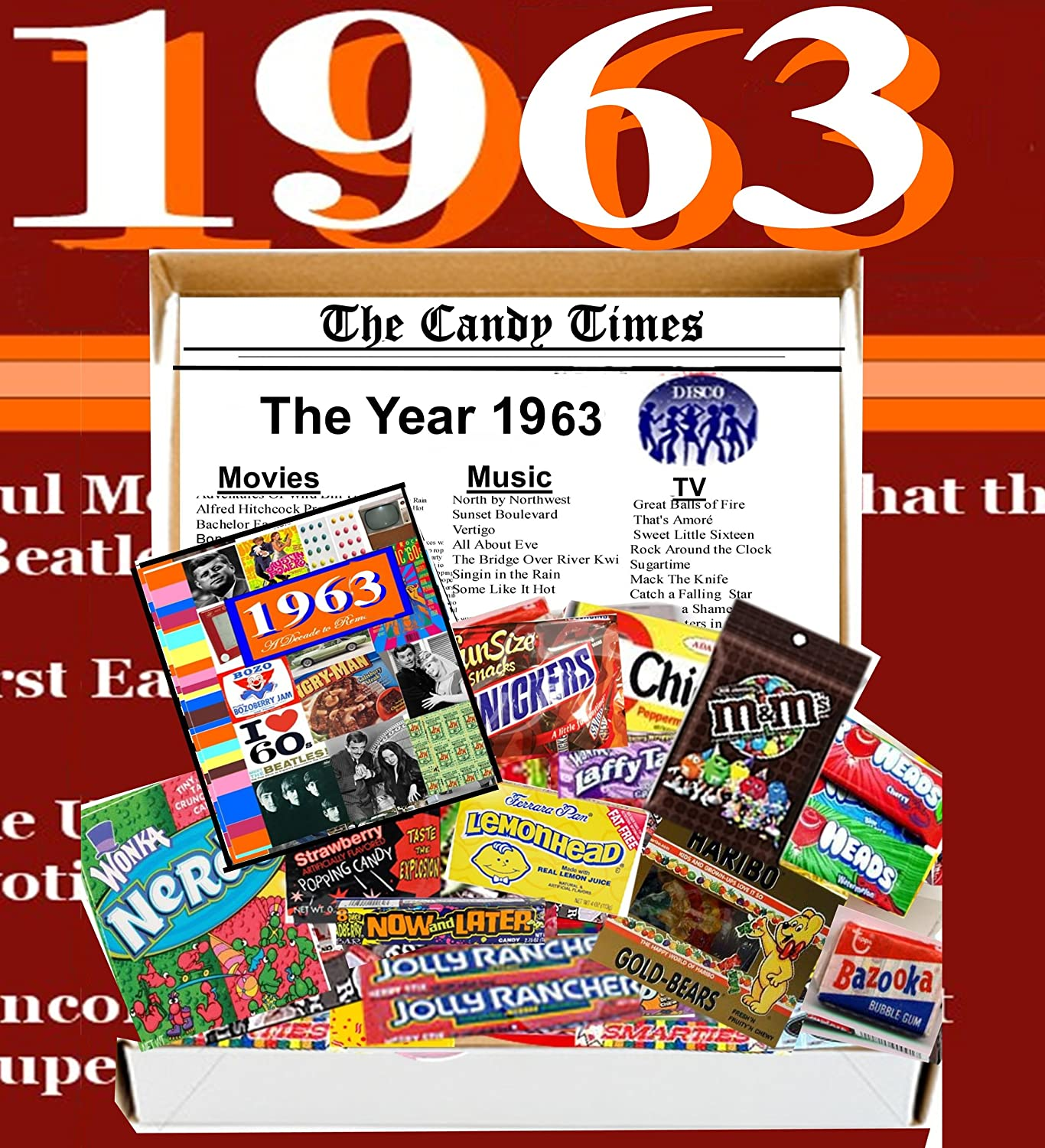 Amazon 1963 50th Birthday Gift Basket Box Retro Nostalgic Candy From Childhood Everything Else
