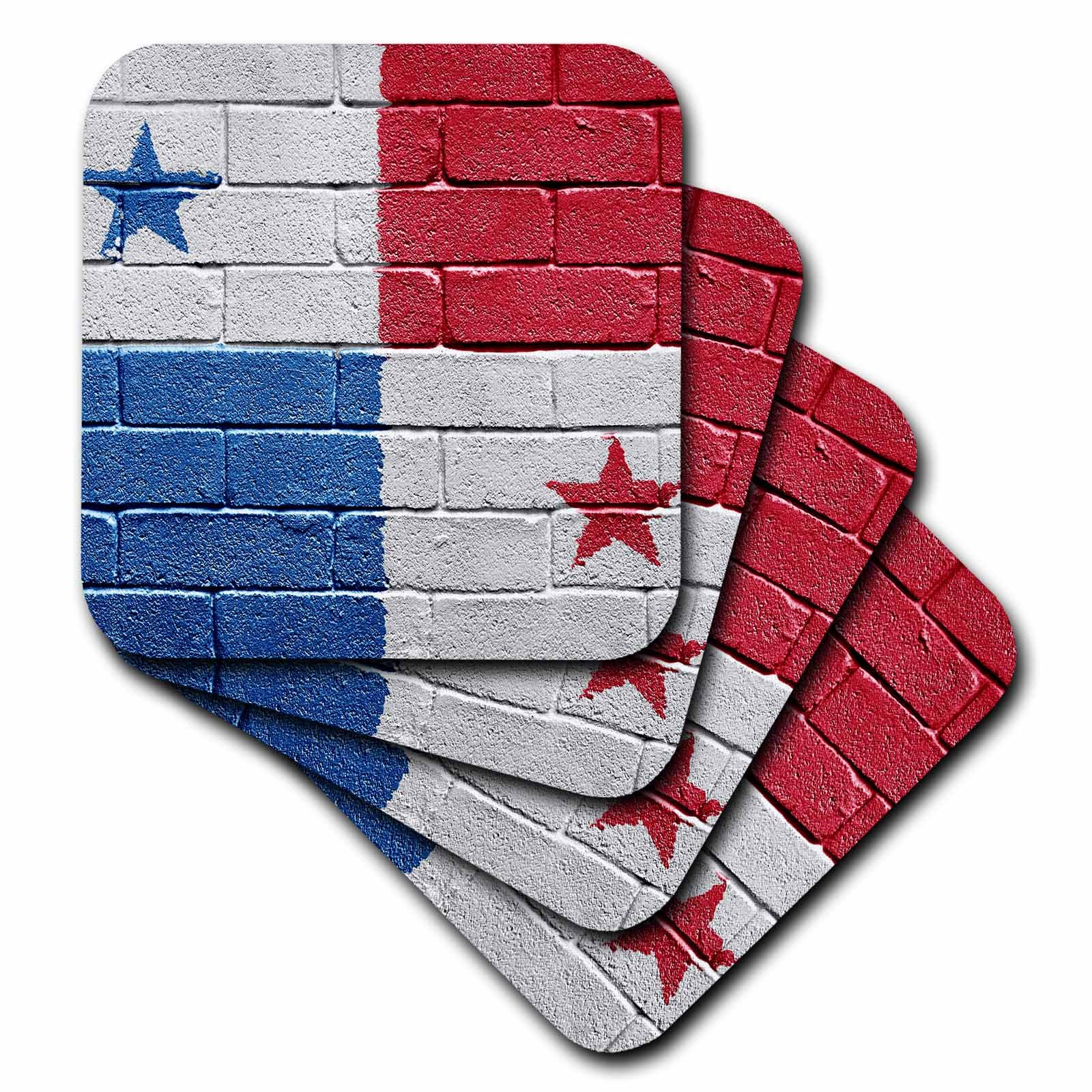 3dRose cst_156964_1 National Flag of Panama Painted Onto A Brick Wall Panamanian Soft Coasters, (Set of 4)