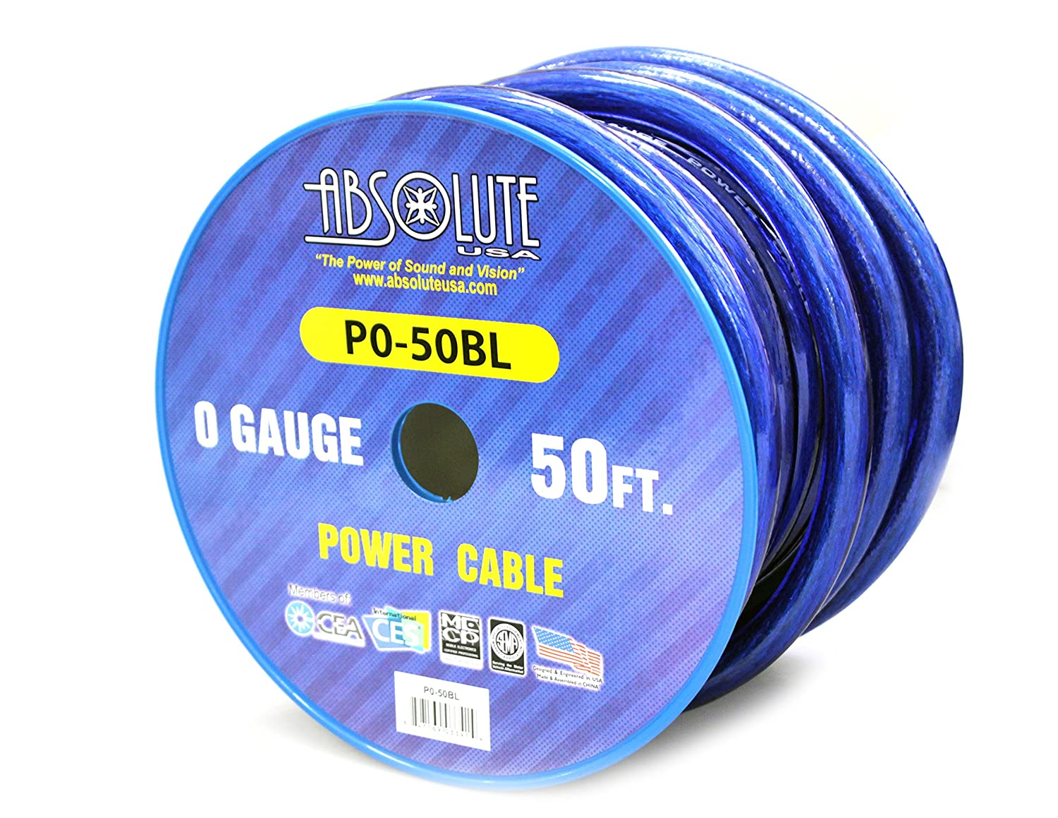 Absolute USA P0-50BL 1//0 Gauge Power//Ground Cable Blue