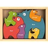 BeginAgain - Dog Family Color Names Puzzle, Make Learning Fun and Help Spark Your Child's Imagination, Bilingual Wooden Colors Puzzle (For Kids 2 and Up)