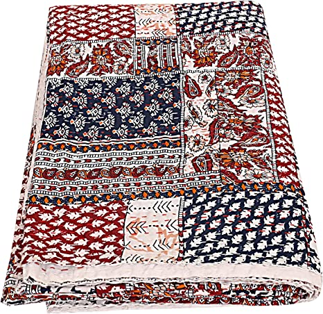 Colcha de algodón Kantha de parche indio, manta para cama de matrimonio (multifloral), colcha bohemia, colcha ...