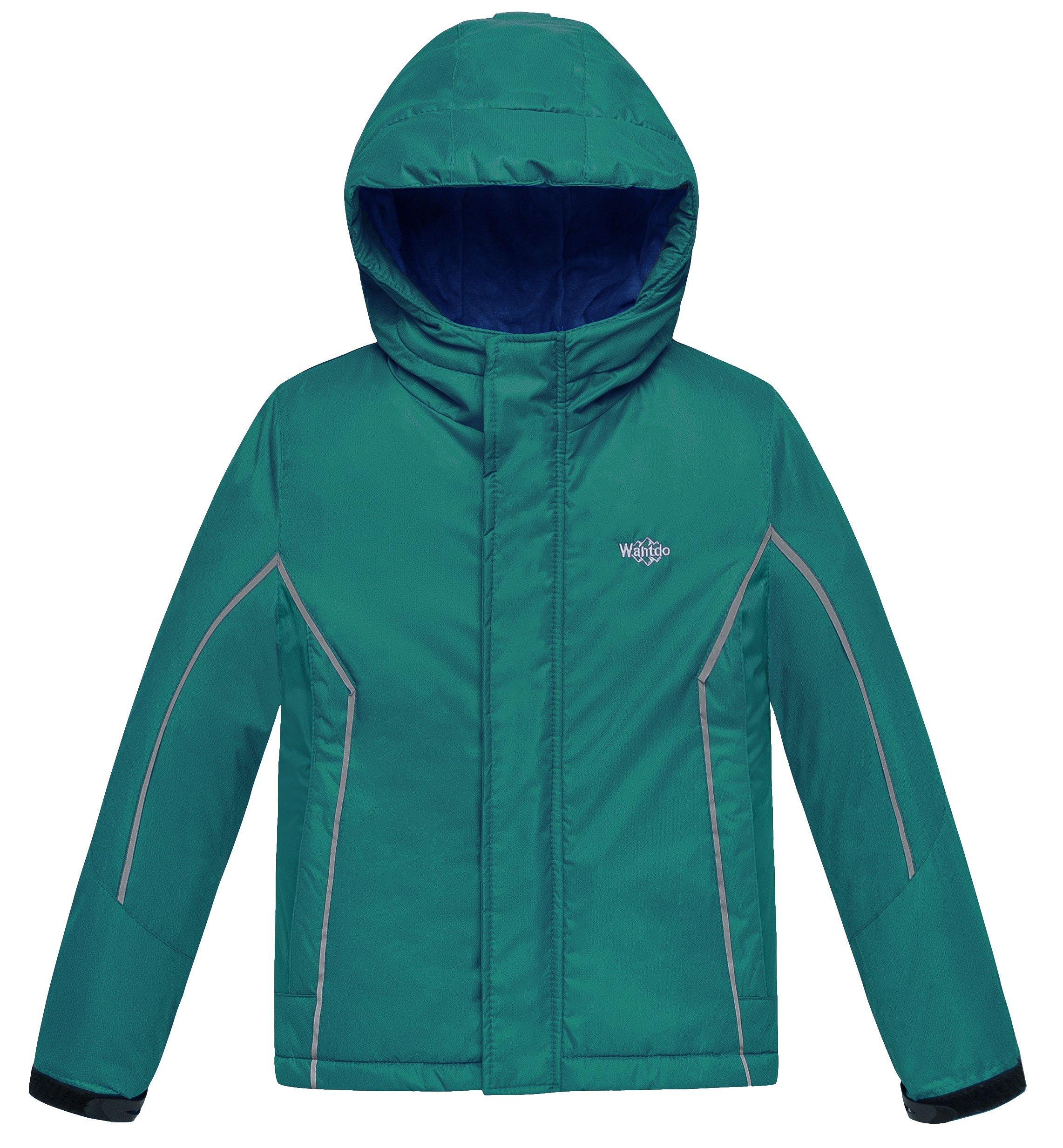 Wantdo Boy's Windproof Skiing Jacket Fleece Lined Hoodies Short Parka Rainwear(Blackish Green, 10/12)