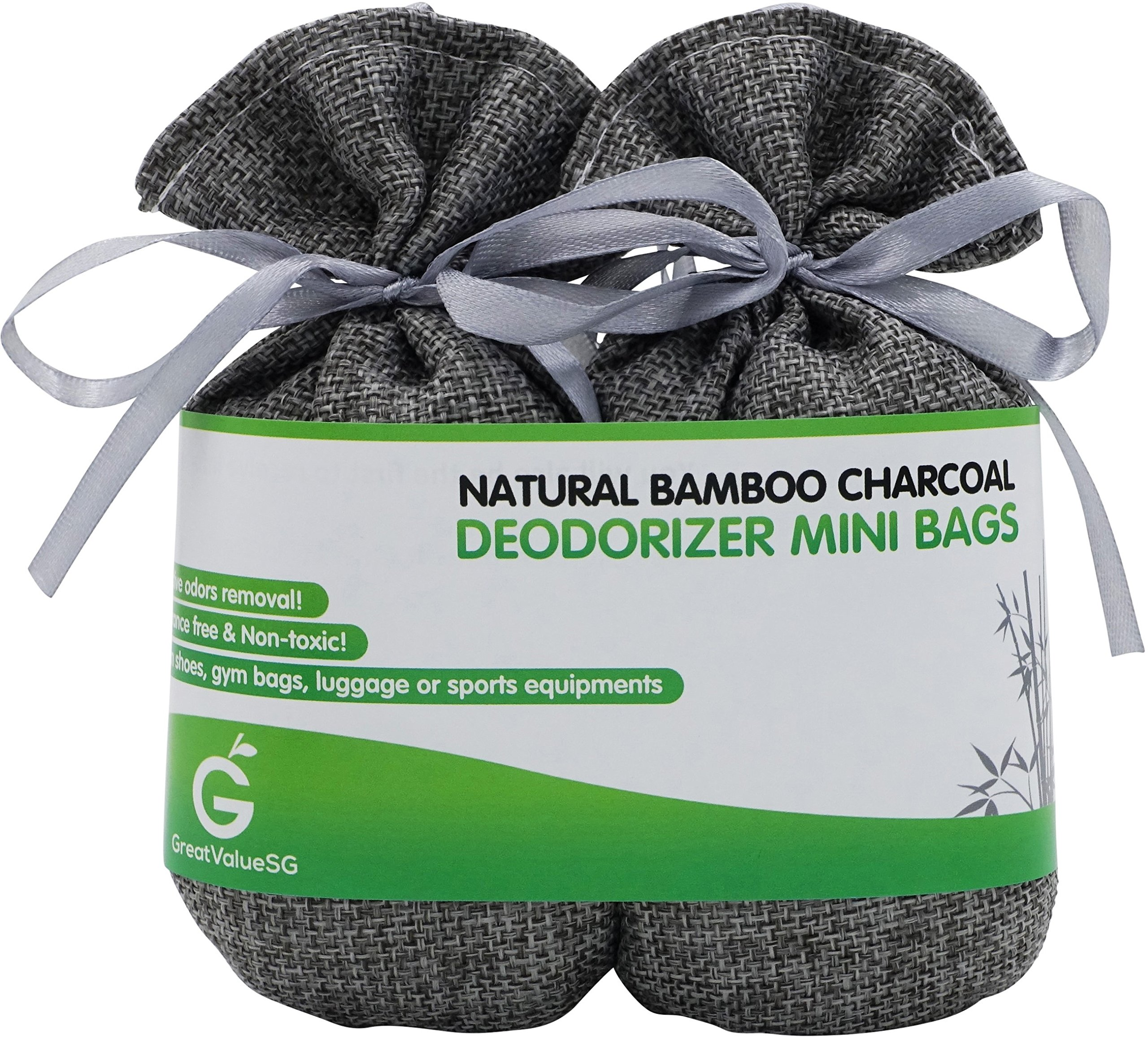 Great Value SG Buy More Save More Bamboo Charcoal Deodorizer Mini Bags, Best Air Purifiers Smokers & Allergies, Perfect Odor & Moisture Absorber Shoe, Gym Bag, Drawer & Locker (Silver Grey)