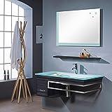 SixBros. Ensemble meuble salle de bain Bari Wengé - M-70130/238 - Miroir - Vasque - Meuble sous vasque