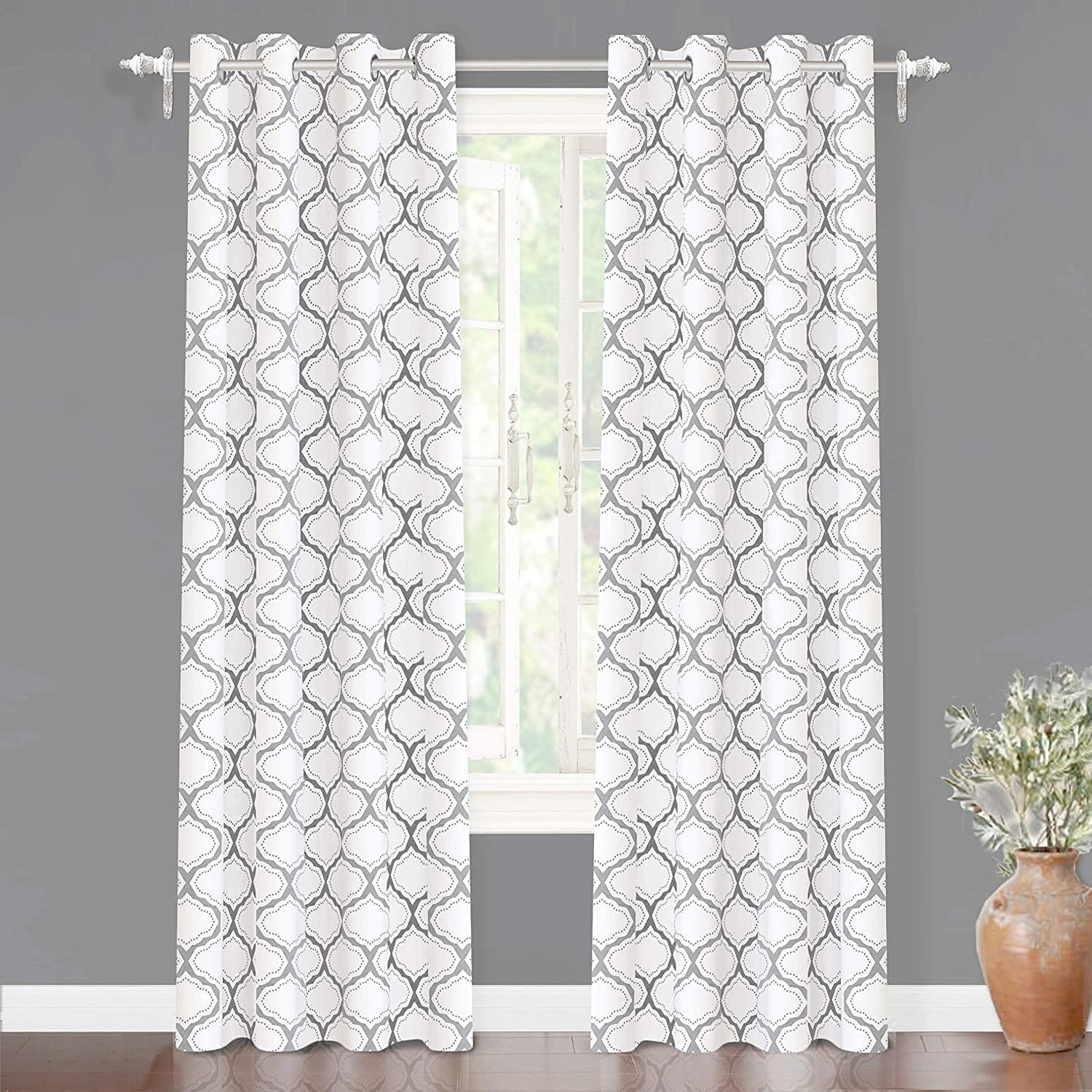 "DriftAway Geometric Trellis Room Darkening/Thermal Insulated Grommet Unlined Window Curtain Drapes Pair for Living Room, Bedroom, Set of Two Panels, Each 52""x84"" (Gray)"