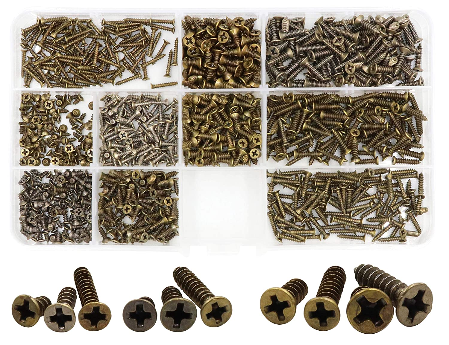 LBY 1000pcs M2 M2.3 M2.6 M3 Philips Flat Head Self-Tapping Sheetmetal Screw Assortment Kit Mini Wood Screws 10 Sizes Combination Carbon Steel Bronze-Coloured