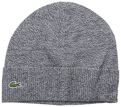 a36d8fe1c4 Lacoste Men's Classic Wool-Blend Fold-Up Beanie, Navy Blue Moline One Size