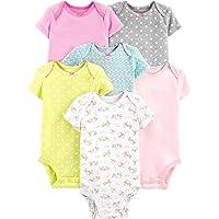 Simple Joys by Carter's 6-Pack Short-Sleeve Bodysuit Bebé-Niñas, Pack de 6