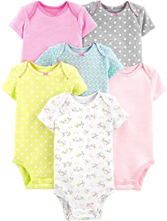 Body de manga larga para ni/ña 0-3 Meses Gray ,Pink White Simple Joys by Carters 5 unidades Yellow