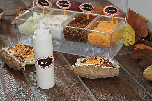 Oaklyn Botellas plásticas de condimentos para gotear con tapas (paquete de 6) 14 onzas Transparente: Amazon.es: Hogar