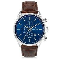 Vincero- Reloj de Pulsera Chrono S de Lujo para Caballeros– Reloj con Disco Azul y Correa de Cuero Marrón