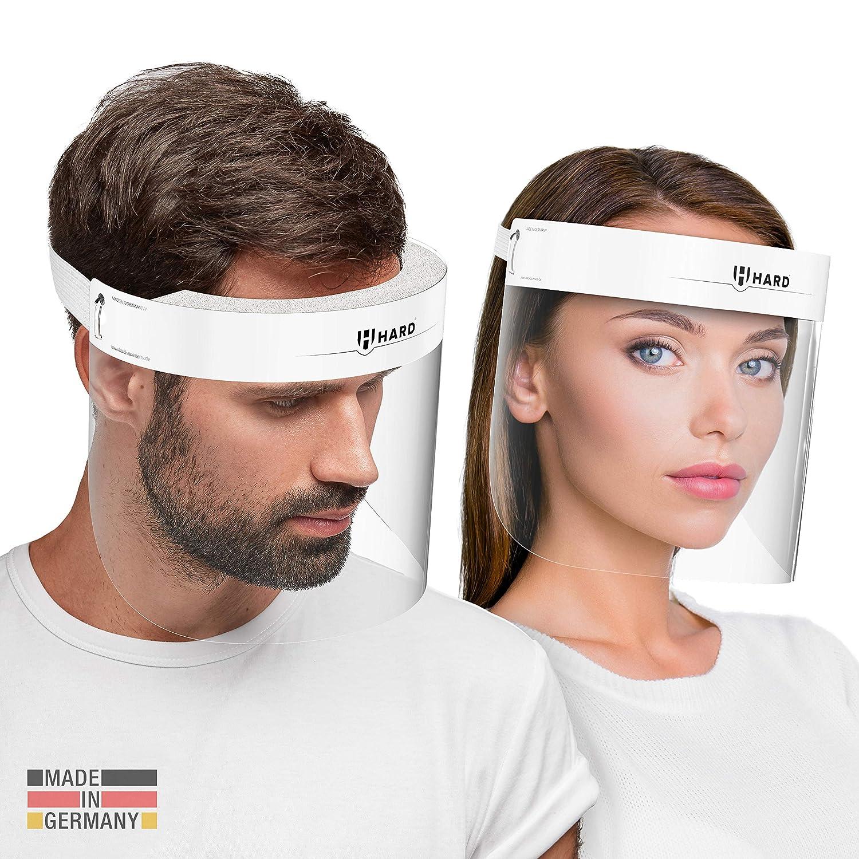 HARD 1x Pro visor Visera de protección facial, Certificado médico, Protector de plástico Antivaho, Pantalla protectora para adultos, Hecho en Alemania - Blanco/Blanco