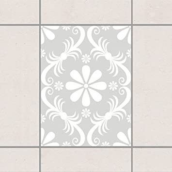 Pattern Design GmbH Fliesen Aufkleber U2013 Design Flower Light Grey 20 Cm X 15  Cm,