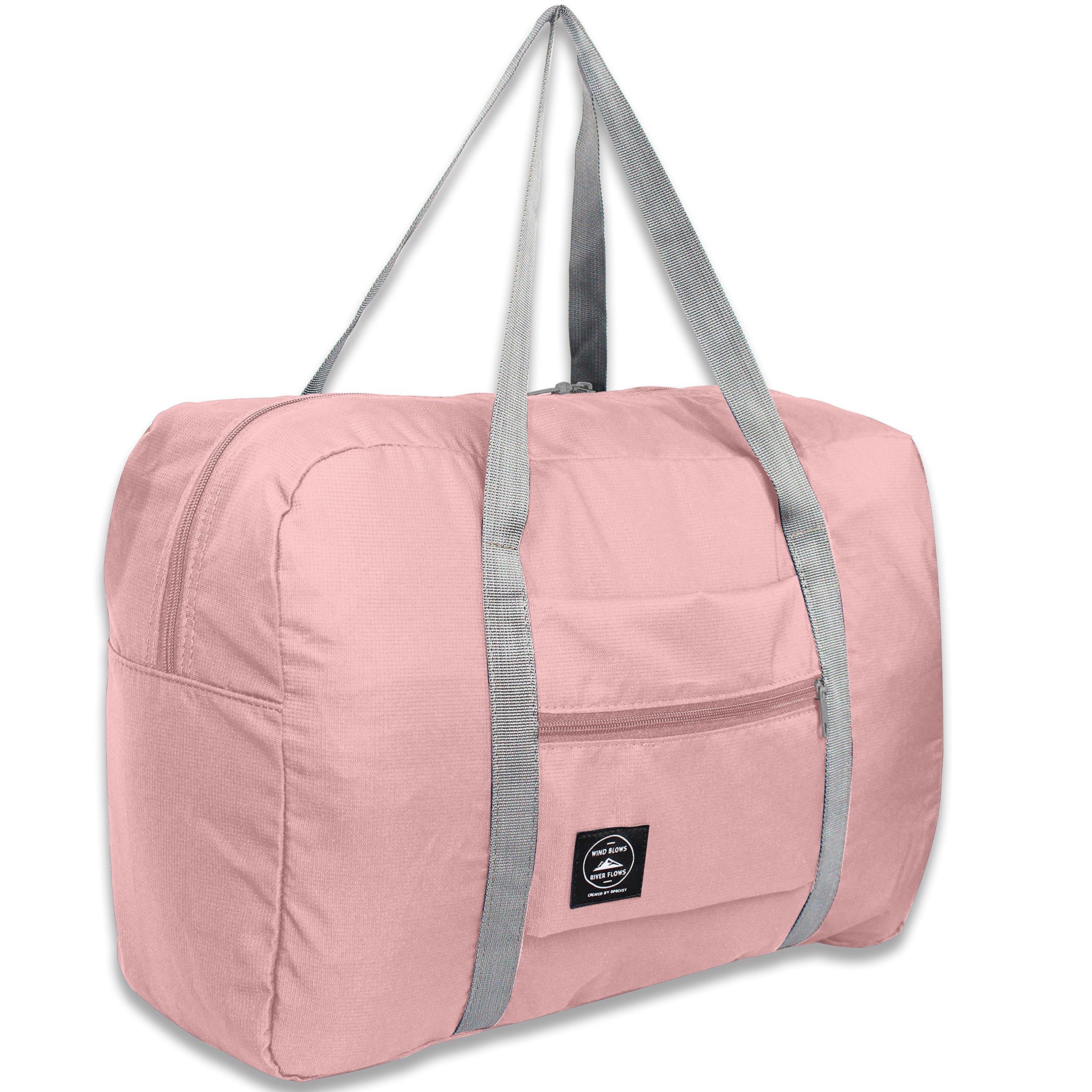 25L Travel Foldable Duffel Bag for Women & Men, Waterproof Lightweight travel Luggage bag for Sports, Gym, Vacation (II-Pink)