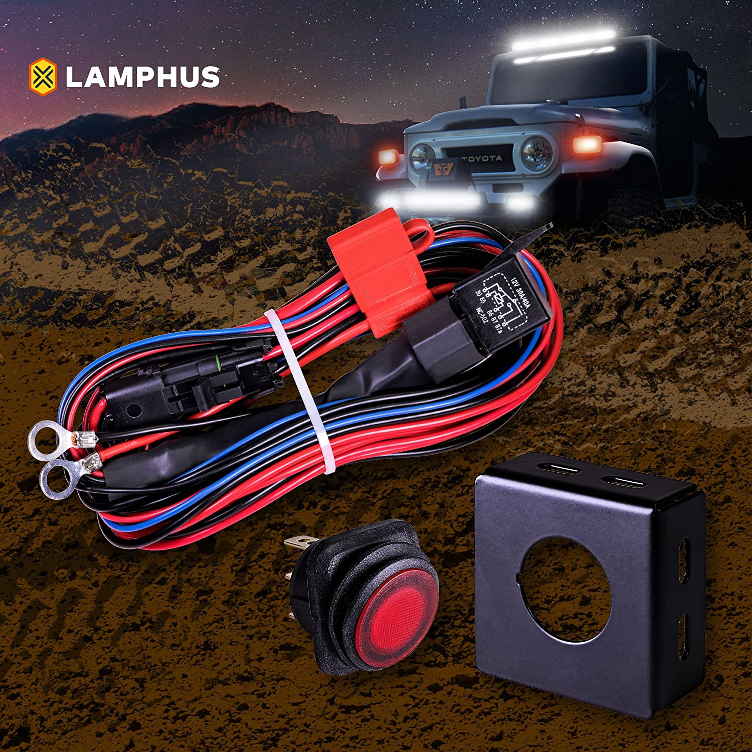 91LyQGXBvJL._SL1500_ amazon com driving, fog & spot lights lighting assemblies cyclops light bar wiring harness kit at nearapp.co