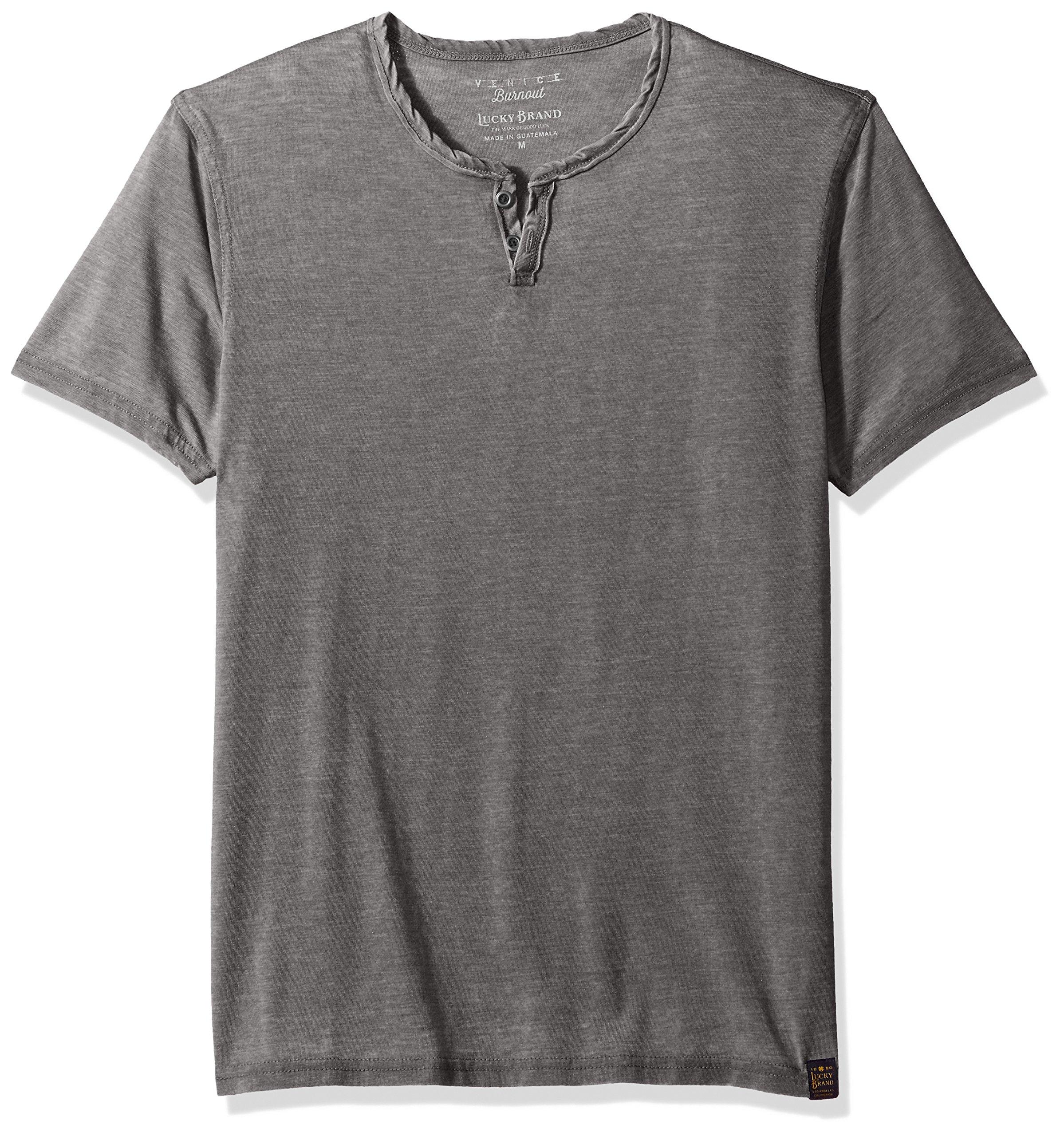 Lucky Brand Men's Venice Burnout Notch Neck Tee Shirt, Black Mountain, L