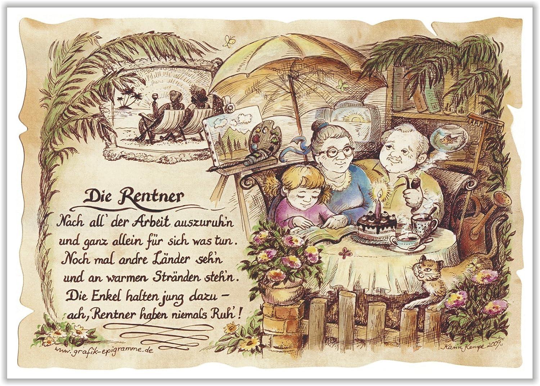 Geschenk Rentner Pensionär Gedicht Zeichnung Color 30 X 21