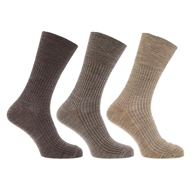 Calcetines sin elastico suaves hombre/caballero con lana de oveja - Paquete de 3 pares