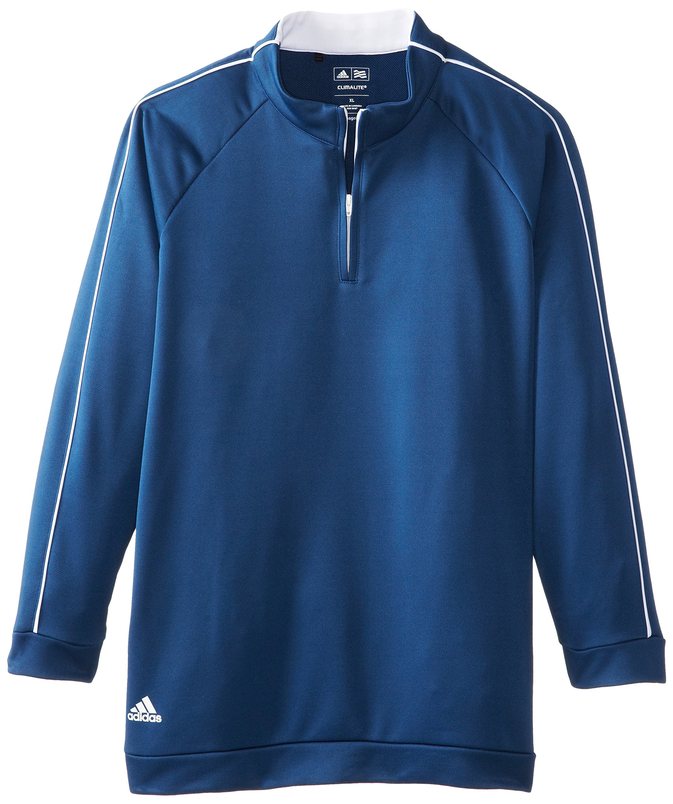 adidas Golf Boy's 3-Stripes Piped 1/4 Zip Jacket, Midnight/White, Large by adidas