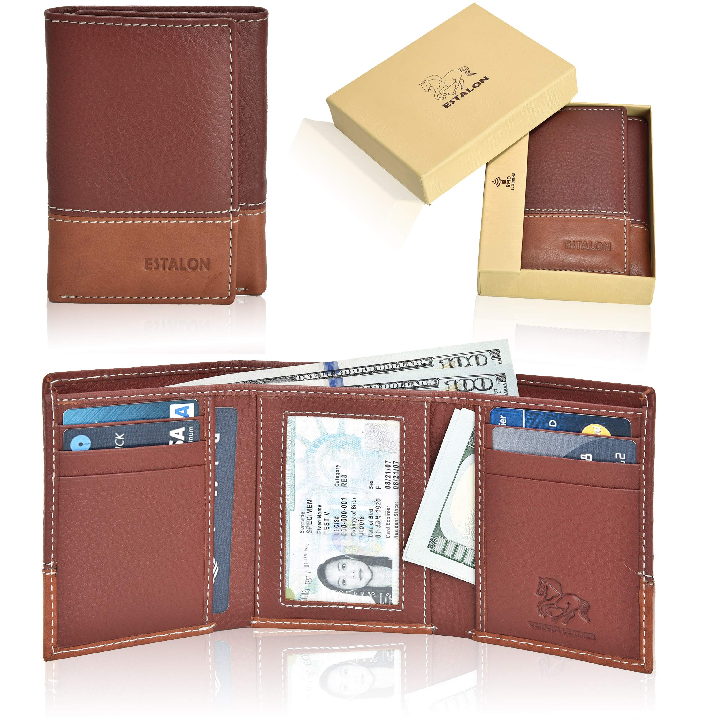 Estalon RFID Leather Trifold Wallets for Men - Handmade Slim Mens Wallet 6 Credit Card ID Window and Gift Box Secure by