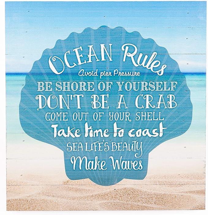 Ocean Rules Seashell Beach Design 12 X 12 Wood Pallet Design Wall Art Sign Plaque Home Kitchen Amazon Com