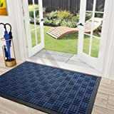 DEXI Door Mat Front Indoor Outdoor Doormat,Small Heavy Duty Rubber Outside Floor Rug for Entryway Patio Waterproof Low-Profil