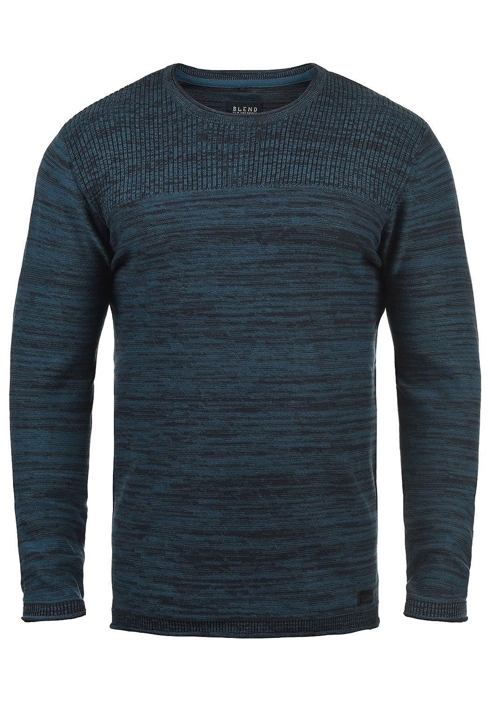 TALLA L. Blend Lino Jersey De Punto Suéter para Hombre con Cuello Redondo de 100% Algodón