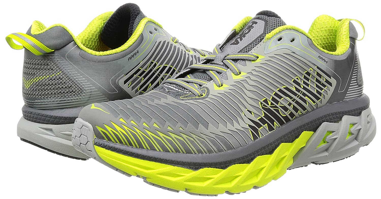 HOKA ONE ONE Mens Arahi Running Shoe B01H6AYL6K 9 D(M) US|Cool Grey/Acid