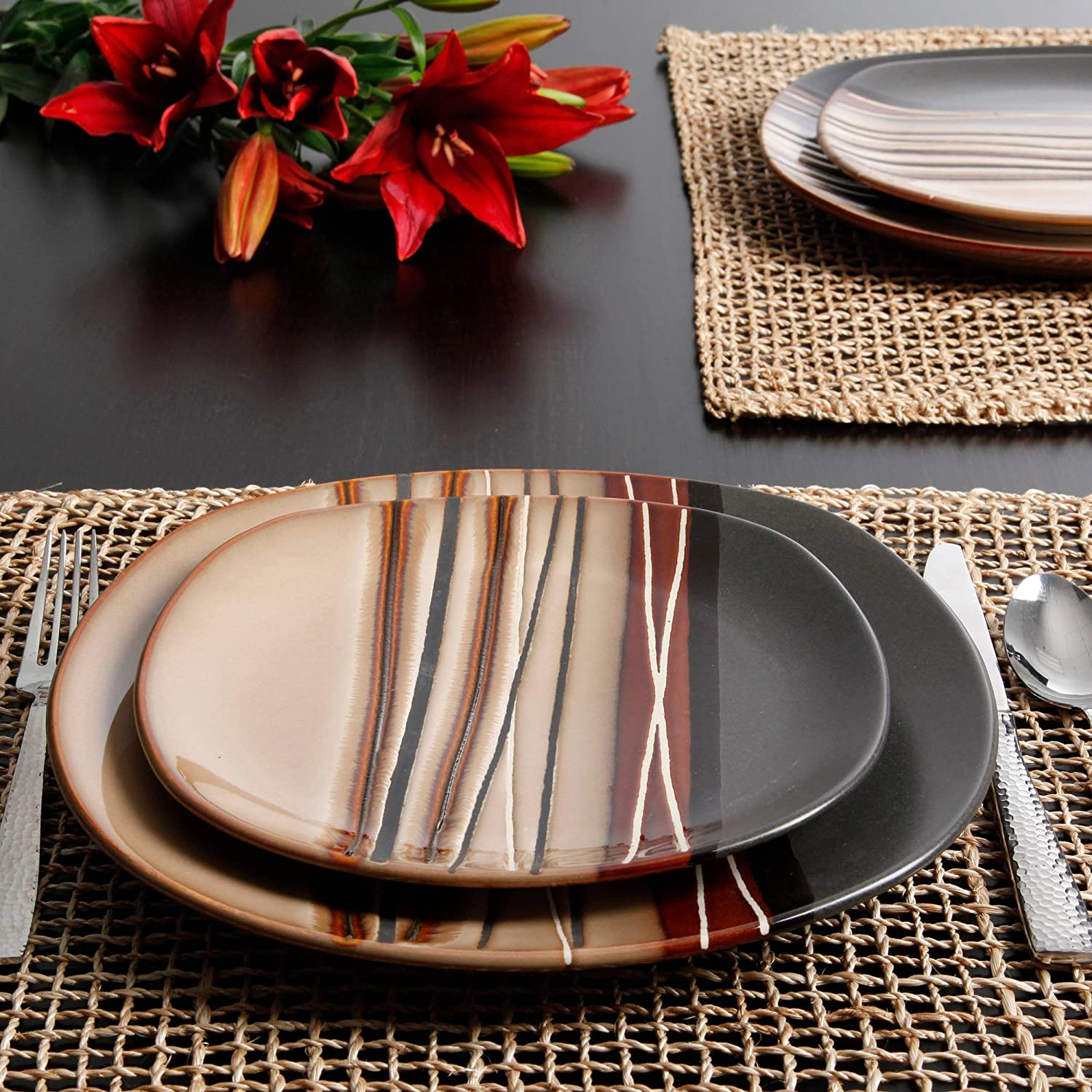 Amazon.com | Better Homes And Gardens Bazaar Brown 16 Piece Dinnerware Set:  Dinnerware Sets