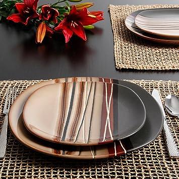 Bon Better Homes And Gardens Bazaar Brown 16 Piece Dinnerware Set