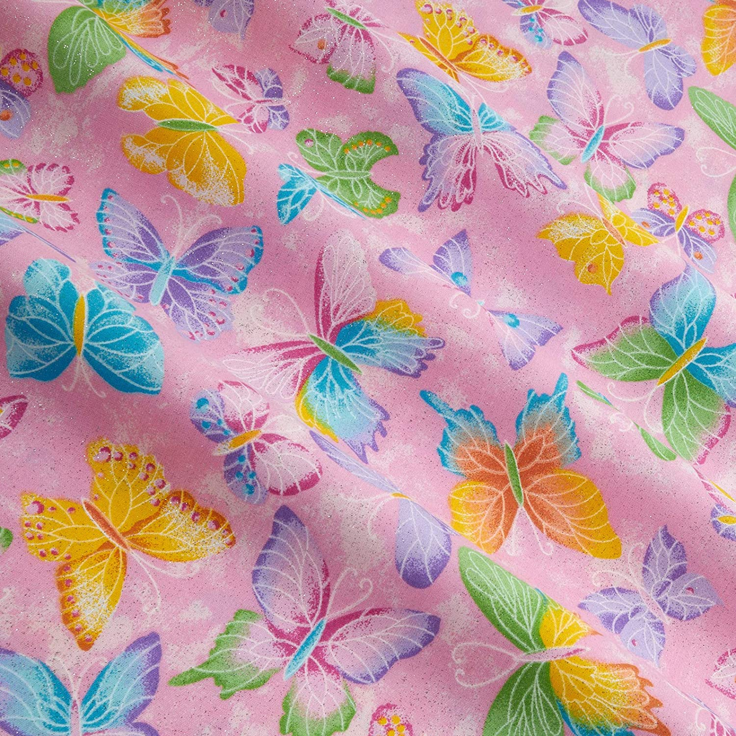 Butterfly Insect Fabric Pink Silver Glitter Fabric Traditions 100/% Cotton Fabric  Novelty Fabric