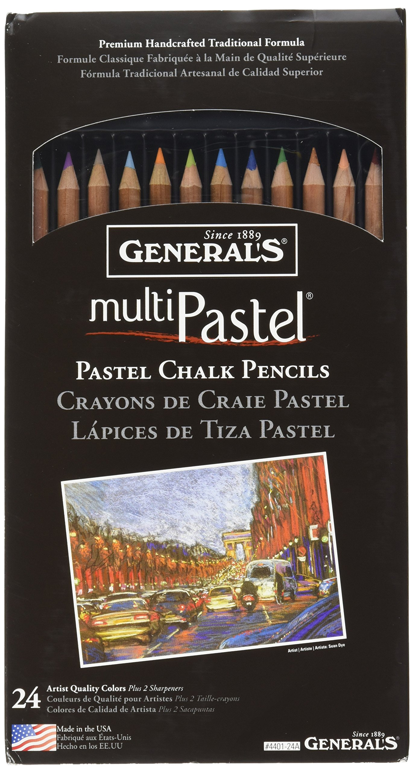 General Pencil 4401-24A Multi Pastel Pencils, 24-Pack