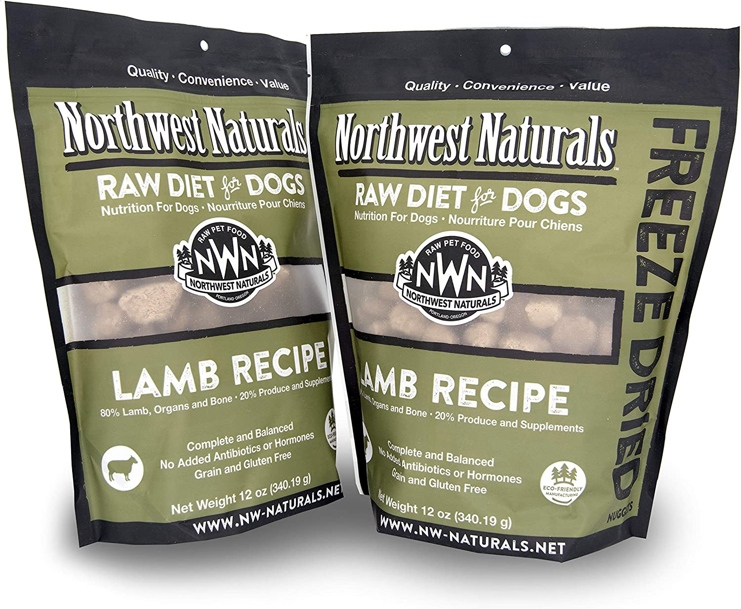Northwest Naturals Freeze-Dried Raw Food Diet for Dogs, 2-Pack, Lamb Recipe, 12 oz in Each Bag, Made in Portland Oregon, USA, Complete and Balanced