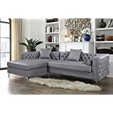 Iconic Home Da Vinci Tufted Silver Trim Grey PU Leather Left Facing Sectional Sofa with Silver Tone Metal Y-Legs